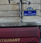 Rue Brillat-Savarin, street sign above a restaurant. Not sure Brillat-Savarin would have given this one the stamp of approval.