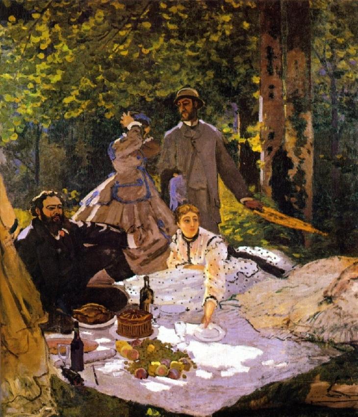 """Claude Monet """"Le déjeuner sur l'herbe"""" (1865-6)"""