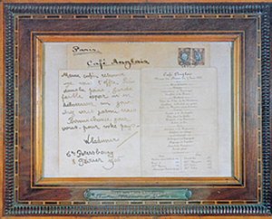 Three Emperors Dinner menu, framed at La Tour d'Argent