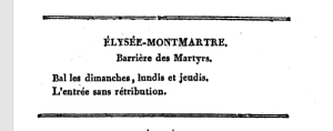 Guide book listing for Élysée-Montmartre (1834)