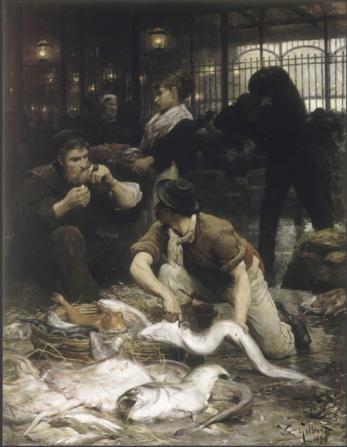 Un coin de la Halle aux poissons le matin, by Victor-Gabriel Gilbert (1880)
