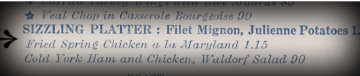 Chicken a la Maryland, on the Empress Menu (1937)