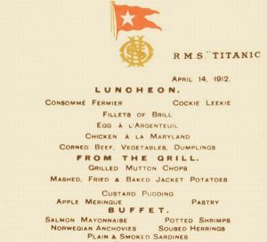 Titanic Lunch Menu Card