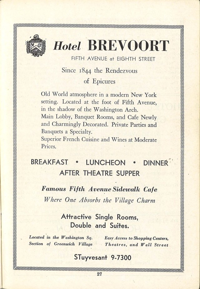 Hotel Brevoort, Rendez-Vous of Epicures