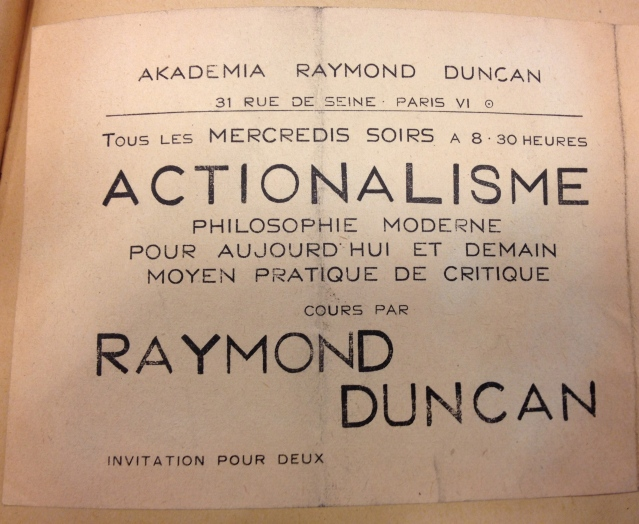 Invitation to Raymond Duncan's Wednesday night salon