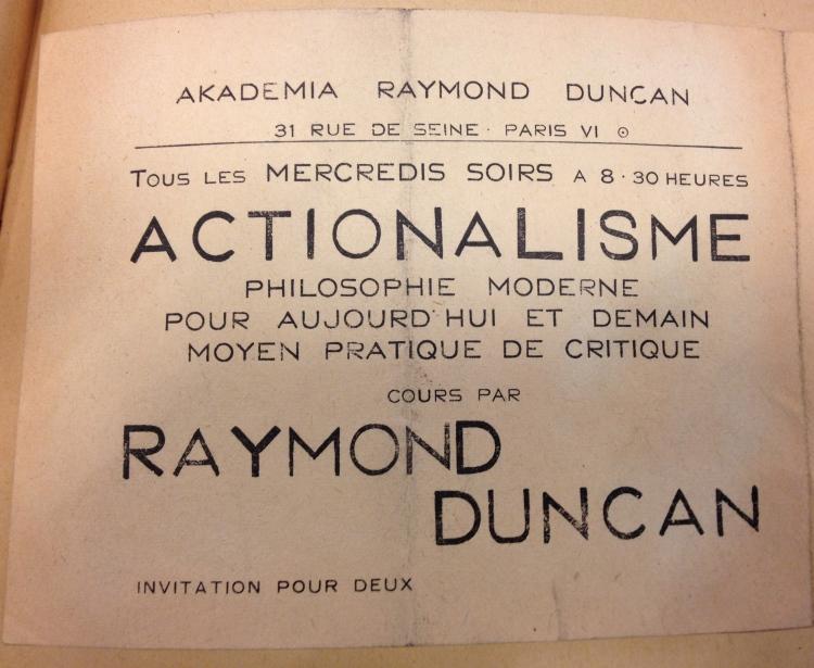 Invitation to Raymond Duncan's Wednesday night salon
