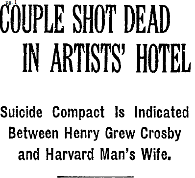 Harry Crosby suicide headline, New York Times