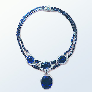 "Florence Gould's necklace featuring the 114-carat ""Blue Princess"" sapphire designed by Van Cleef & Arpels."