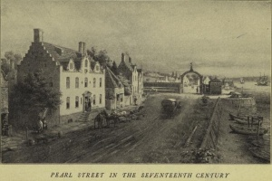 Early New York's Pearl Street, named after the oyster shells that paved its length.